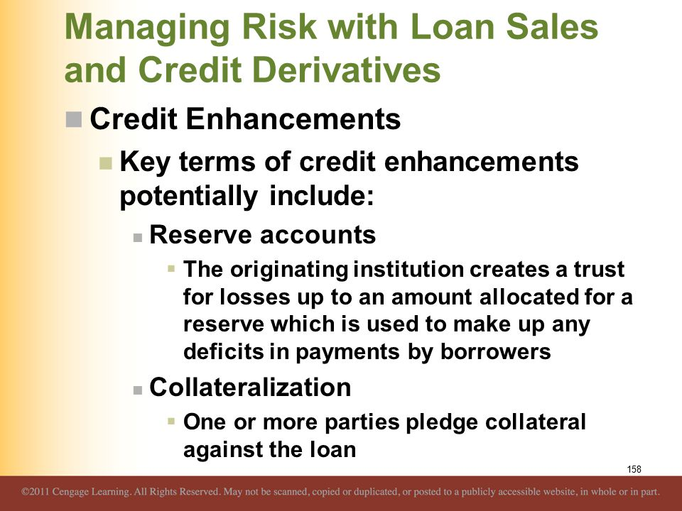 Managing Risk with Loan Sales and Credit Derivatives Credit Enhancements Key terms of credit enhancements potentially include: Reserve accounts  The originating institution creates a trust for losses up to an amount allocated for a reserve which is used to make up any deficits in payments by borrowers Collateralization  One or more parties pledge collateral against the loan 158
