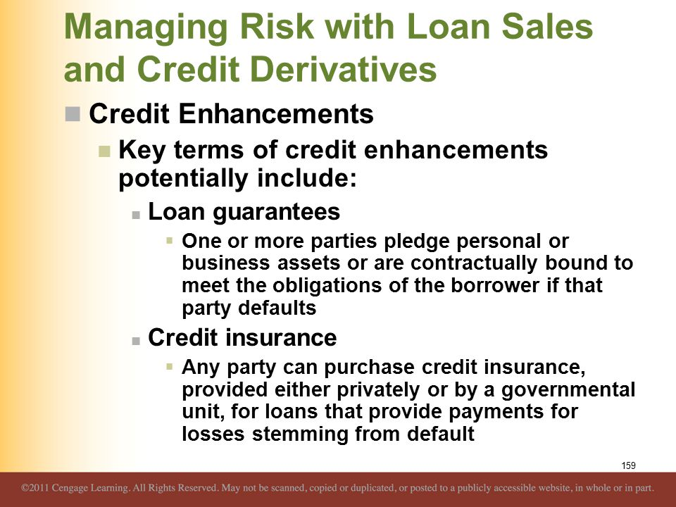 Managing Risk with Loan Sales and Credit Derivatives Credit Enhancements Key terms of credit enhancements potentially include: Loan guarantees  One or more parties pledge personal or business assets or are contractually bound to meet the obligations of the borrower if that party defaults Credit insurance  Any party can purchase credit insurance, provided either privately or by a governmental unit, for loans that provide payments for losses stemming from default 159