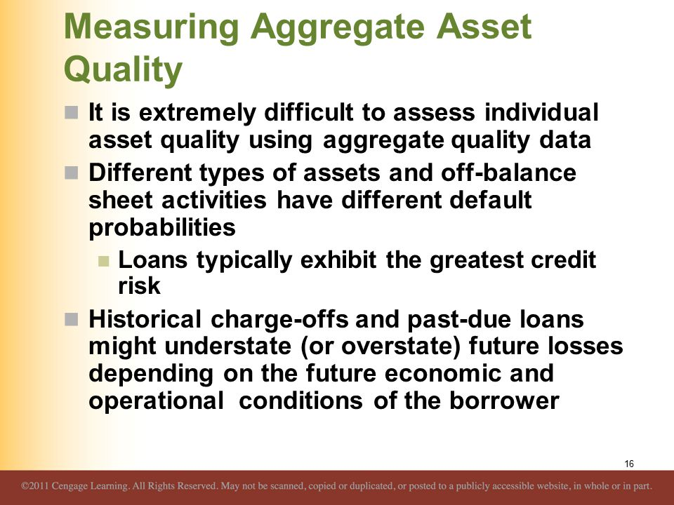 Measuring Aggregate Asset Quality It is extremely difficult to assess individual asset quality using aggregate quality data Different types of assets and off-balance sheet activities have different default probabilities Loans typically exhibit the greatest credit risk Historical charge-offs and past-due loans might understate (or overstate) future losses depending on the future economic and operational conditions of the borrower 16