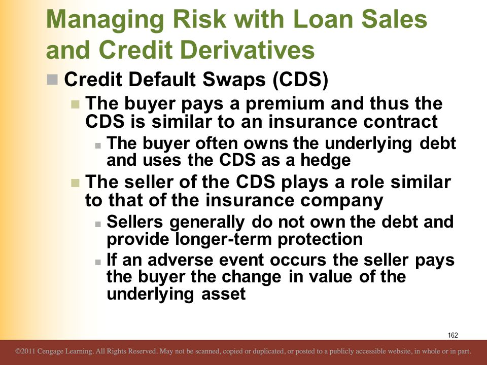 Managing Risk with Loan Sales and Credit Derivatives Credit Default Swaps (CDS) The buyer pays a premium and thus the CDS is similar to an insurance c