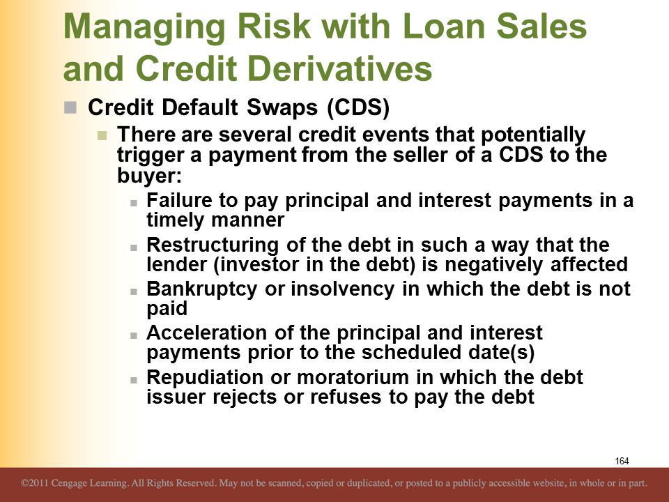 Managing Risk with Loan Sales and Credit Derivatives Credit Default Swaps (CDS) There are several credit events that potentially trigger a payment from the seller of a CDS to the buyer: Failure to pay principal and interest payments in a timely manner Restructuring of the debt in such a way that the lender (investor in the debt) is negatively affected Bankruptcy or insolvency in which the debt is not paid Acceleration of the principal and interest payments prior to the scheduled date(s) Repudiation or moratorium in which the debt issuer rejects or refuses to pay the debt 164
