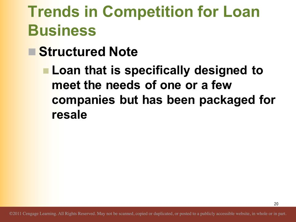 Trends in Competition for Loan Business Structured Note Loan that is specifically designed to meet the needs of one or a few companies but has been pa