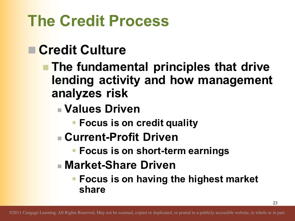 The Credit Process Credit Culture The fundamental principles that drive lending activity and how management analyzes risk Values Driven  Focus is on credit quality Current-Profit Driven  Focus is on short-term earnings Market-Share Driven  Focus is on having the highest market share 23