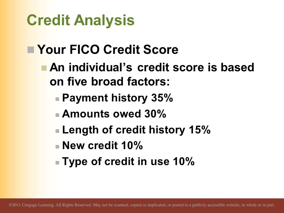 Credit Analysis Your FICO Credit Score An individual's credit score is based on five broad factors: Payment history 35% Amounts owed 30% Length of credit history 15% New credit 10% Type of credit in use 10%