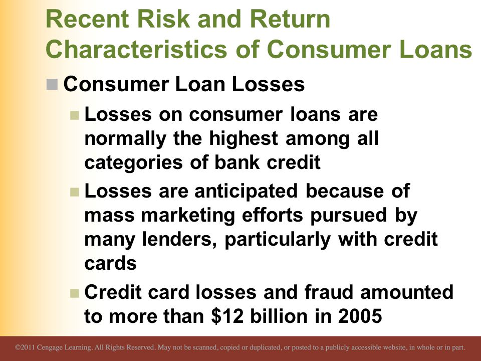 Recent Risk and Return Characteristics of Consumer Loans Consumer Loan Losses Losses on consumer loans are normally the highest among all categories o
