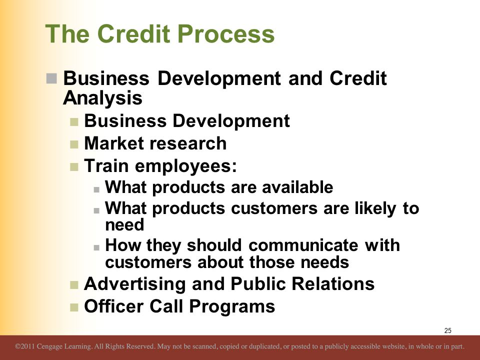 The Credit Process Business Development and Credit Analysis Business Development Market research Train employees: What products are available What products customers are likely to need How they should communicate with customers about those needs Advertising and Public Relations Officer Call Programs 25