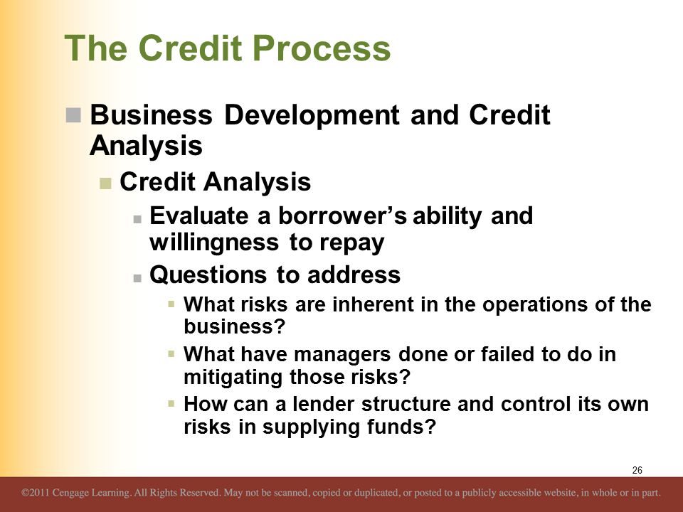 The Credit Process Business Development and Credit Analysis Credit Analysis Evaluate a borrower's ability and willingness to repay Questions to addres