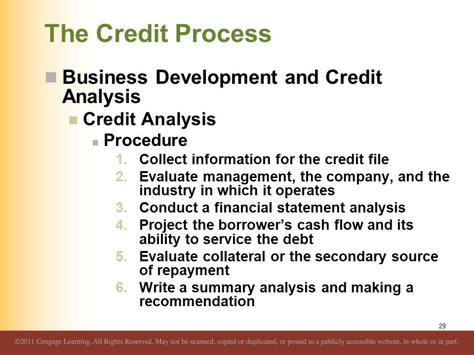 The Credit Process Business Development and Credit Analysis Credit Analysis Procedure 1.Collect information for the credit file 2.Evaluate management,