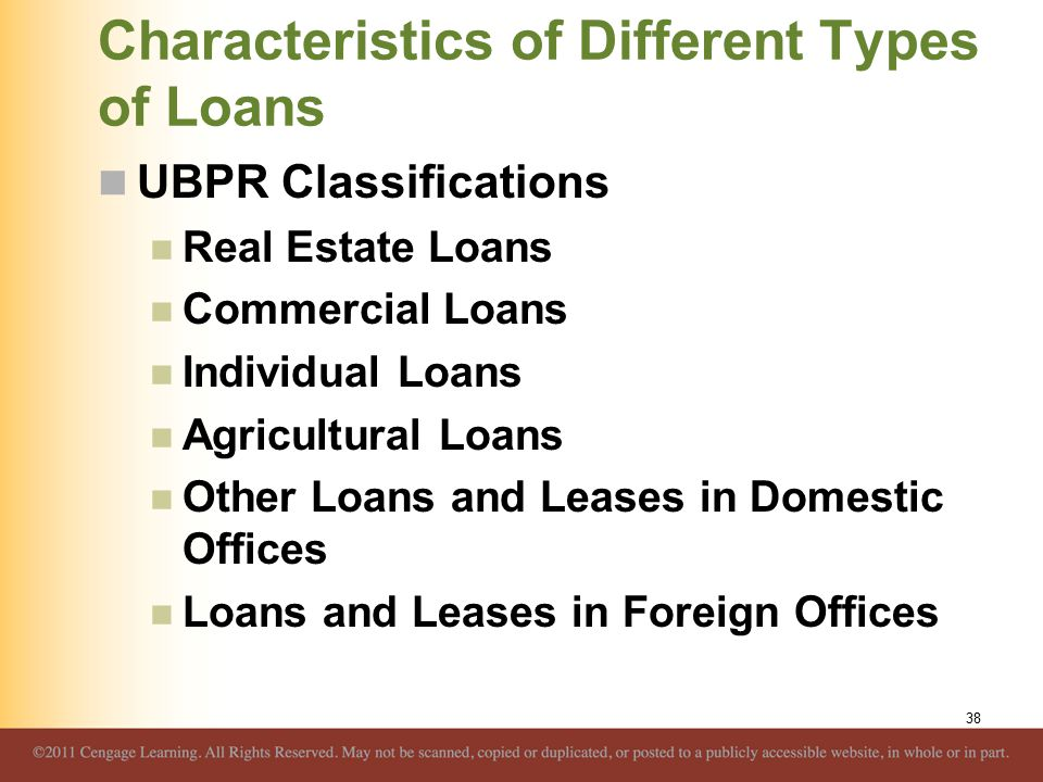 Characteristics of Different Types of Loans UBPR Classifications Real Estate Loans Commercial Loans Individual Loans Agricultural Loans Other Loans an