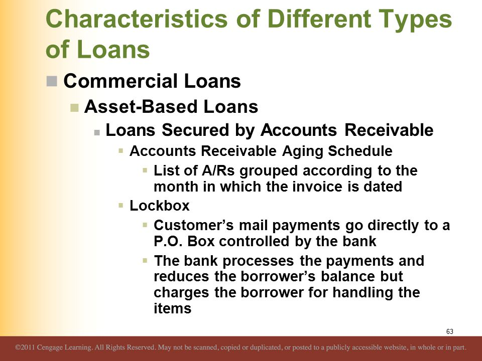 Characteristics of Different Types of Loans Commercial Loans Asset-Based Loans Loans Secured by Accounts Receivable  Accounts Receivable Aging Schedu