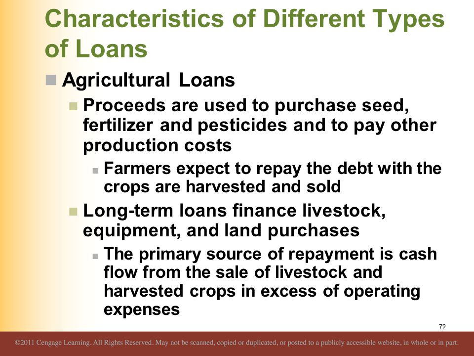 Characteristics of Different Types of Loans Agricultural Loans Proceeds are used to purchase seed, fertilizer and pesticides and to pay other production costs Farmers expect to repay the debt with the crops are harvested and sold Long-term loans finance livestock, equipment, and land purchases The primary source of repayment is cash flow from the sale of livestock and harvested crops in excess of operating expenses 72