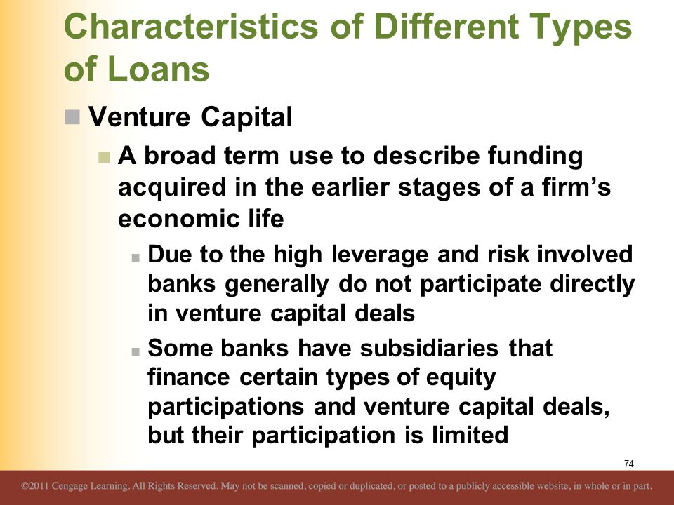 Characteristics of Different Types of Loans Venture Capital A broad term use to describe funding acquired in the earlier stages of a firm's economic l