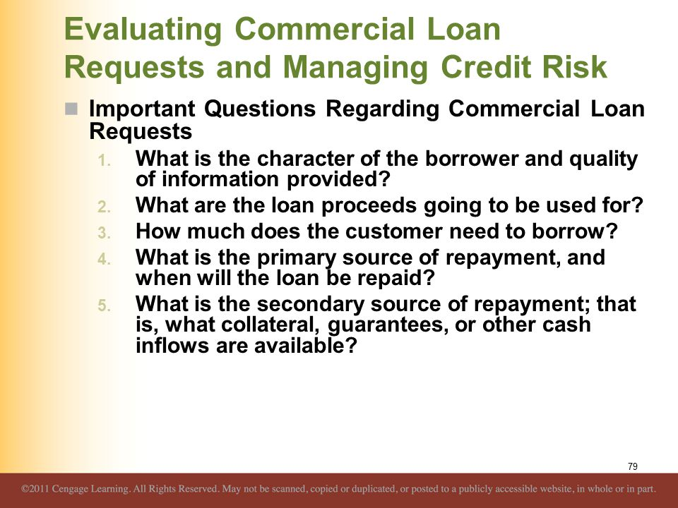 Evaluating Commercial Loan Requests and Managing Credit Risk Important Questions Regarding Commercial Loan Requests 1.
