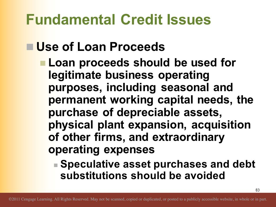 Fundamental Credit Issues Use of Loan Proceeds Loan proceeds should be used for legitimate business operating purposes, including seasonal and permane