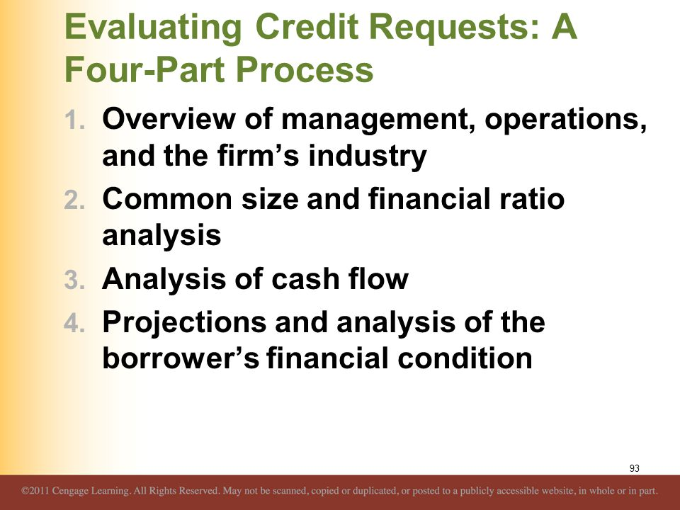 Evaluating Credit Requests: A Four-Part Process 1.