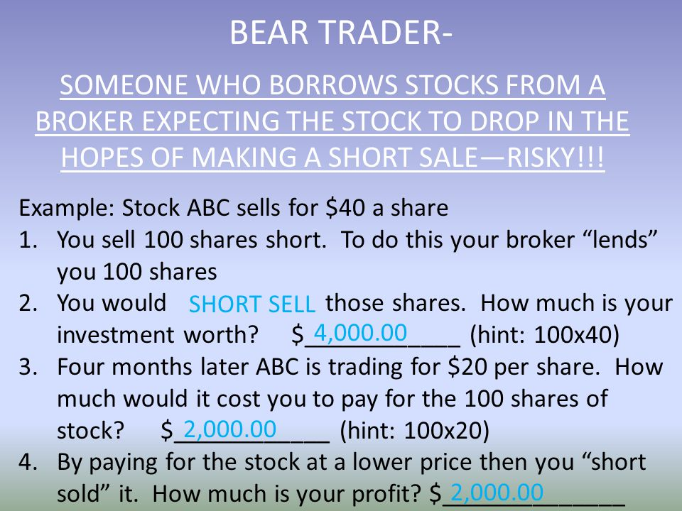 BEAR TRADER- Example: Stock ABC sells for $40 a share 1.You sell 100 shares short.