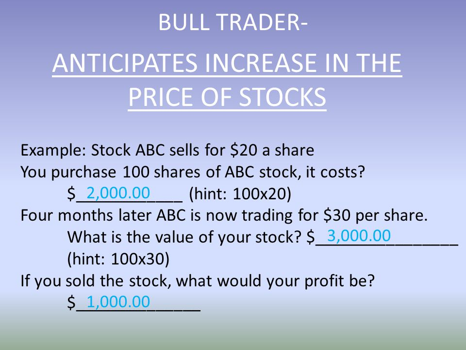 BULL TRADER- Example: Stock ABC sells for $20 a share You purchase 100 shares of ABC stock, it costs.