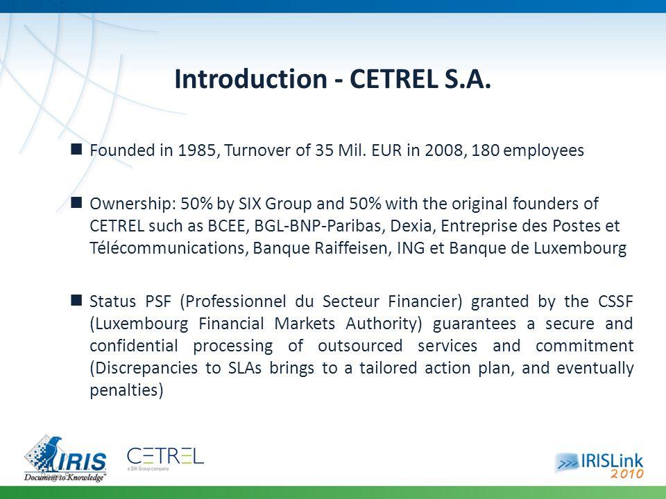 Page 6 Introduction - CETREL S.A.