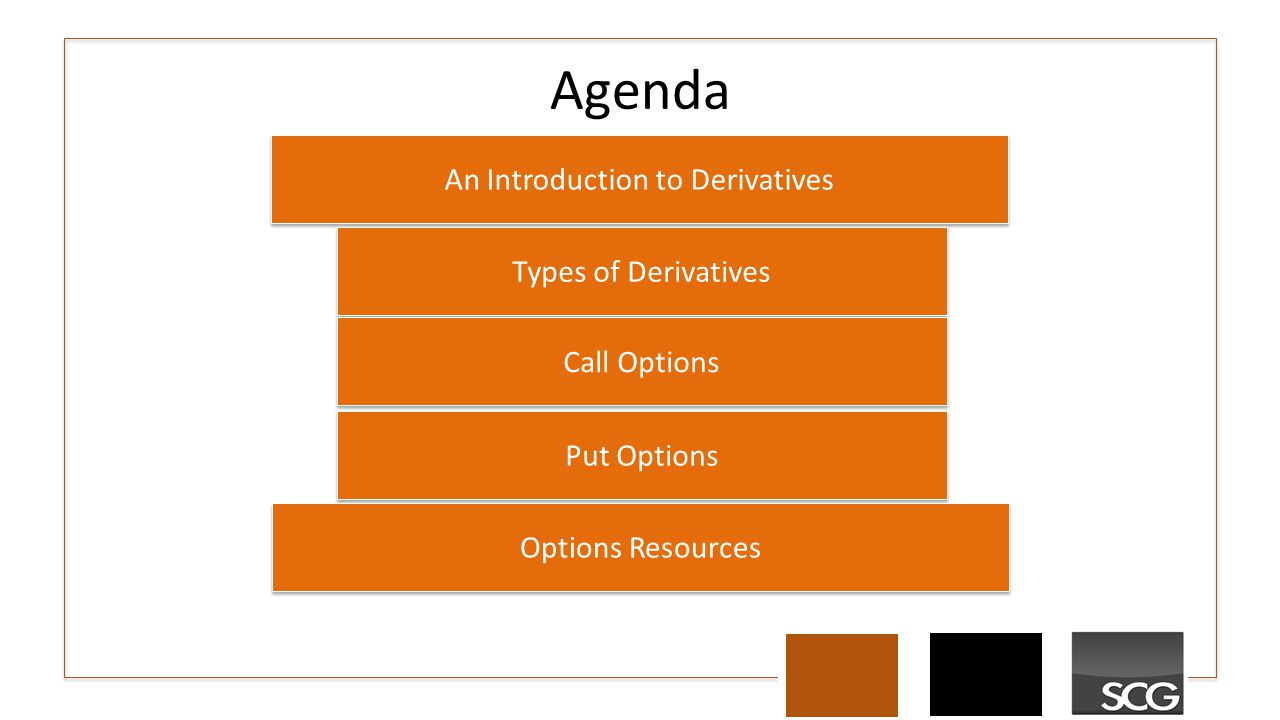 Agenda An Introduction to Derivatives Types of Derivatives Call Options Put Options Options Resources