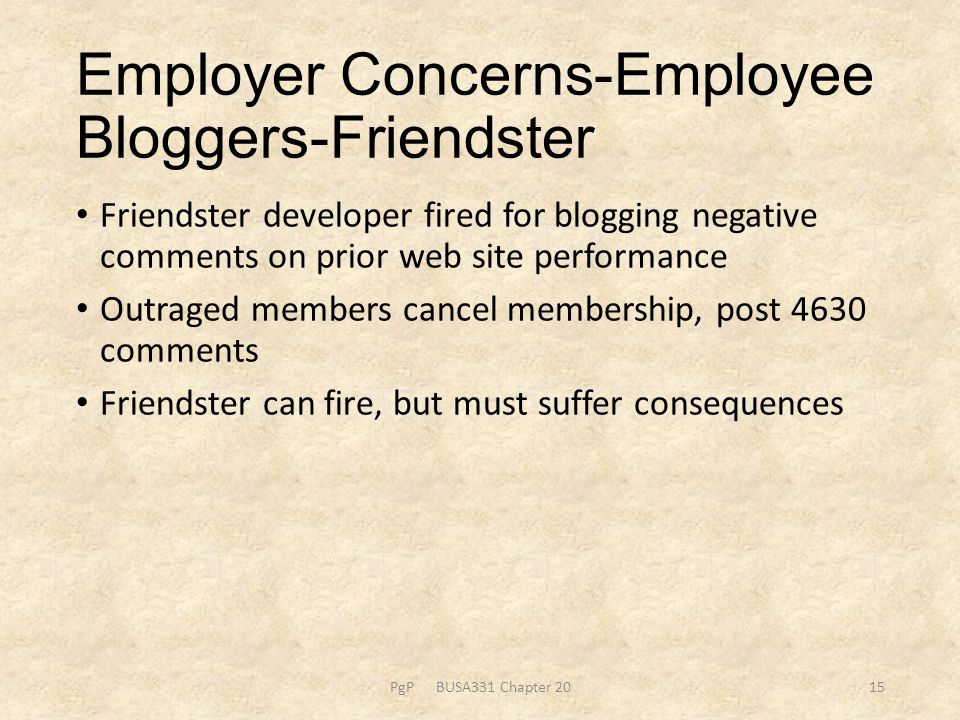 Employer Concerns-Employee Bloggers-Friendster Friendster developer fired for blogging negative comments on prior web site performance Outraged member