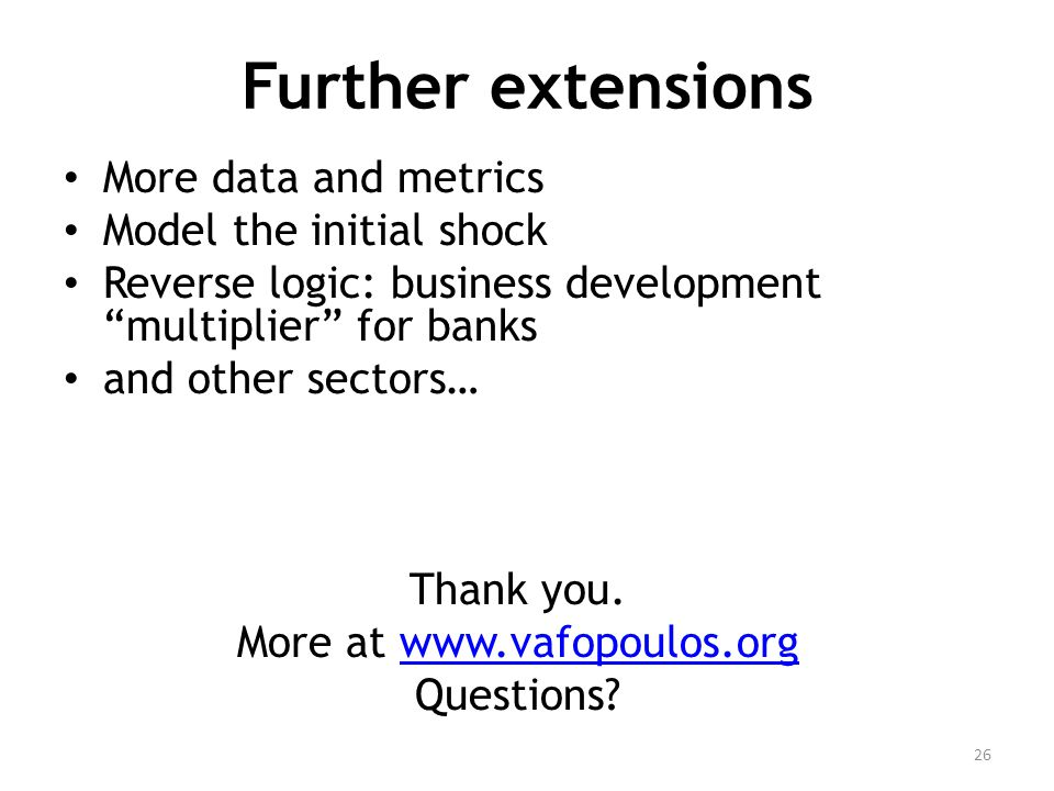 Further extensions More data and metrics Model the initial shock Reverse logic: business development multiplier for banks and other sectors… Thank you.