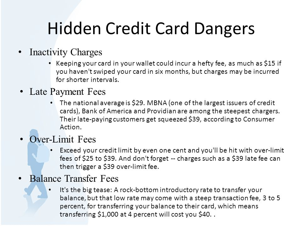 Hidden Credit Card Dangers Inactivity Charges Keeping your card in your wallet could incur a hefty fee, as much as $15 if you haven t swiped your card in six months, but charges may be incurred for shorter intervals.