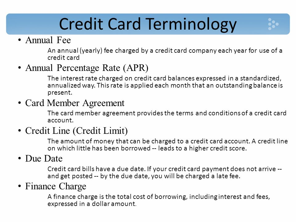 Credit Card Terminology Fixed Rate (Fixed APR) An annual percentage rate that does not change throughout the year, unlike an introductory APR that changes after a specific period of time Grace Period The grace period is the time during which you are allowed to pay your credit card bill without having to pay interest.