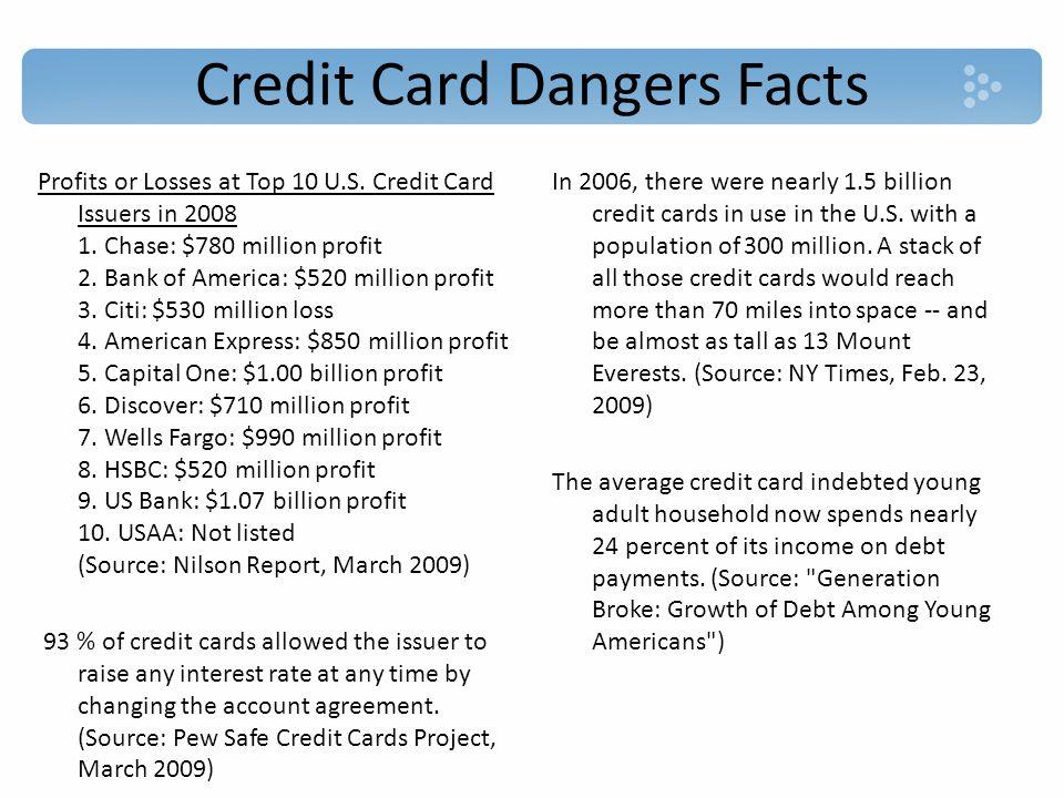Credit Card Dangers Facts Profits or Losses at Top 10 U.S.