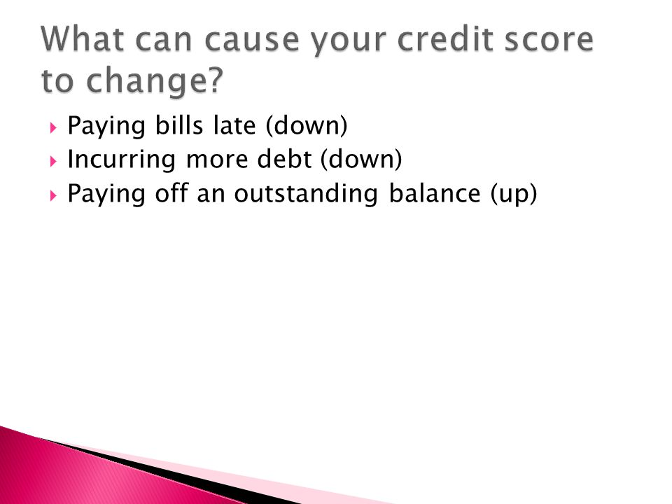  Paying bills late (down)  Incurring more debt (down)  Paying off an outstanding balance (up)