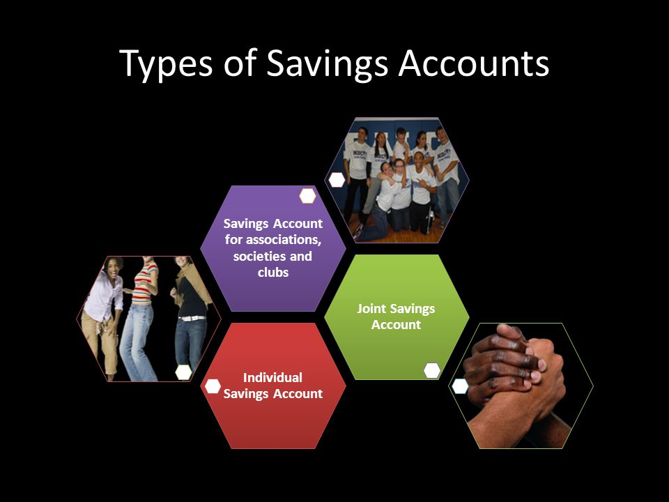 Types of Savings Accounts Individual Savings Account Joint Savings Account Savings Account for associations, societies and clubs