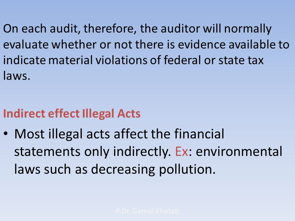 On each audit, therefore, the auditor will normally evaluate whether or not there is evidence available to indicate material violations of federal or state tax laws.