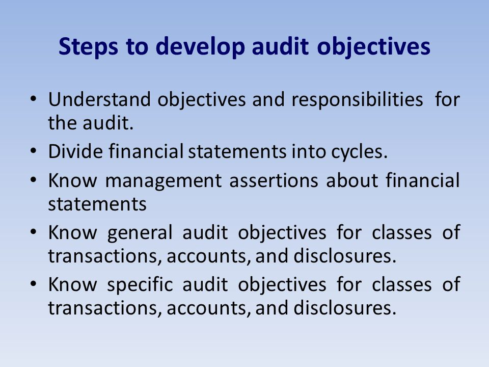 Steps to develop audit objectives Understand objectives and responsibilities for the audit.