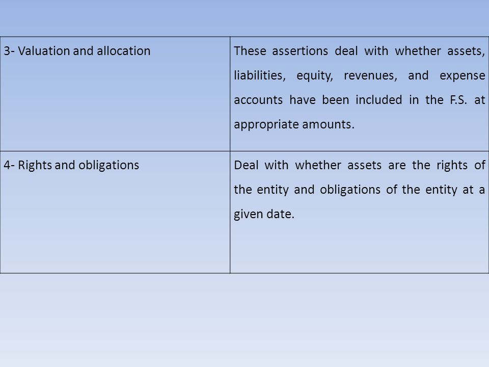 3- Valuation and allocation These assertions deal with whether assets, liabilities, equity, revenues, and expense accounts have been included in the F.S.