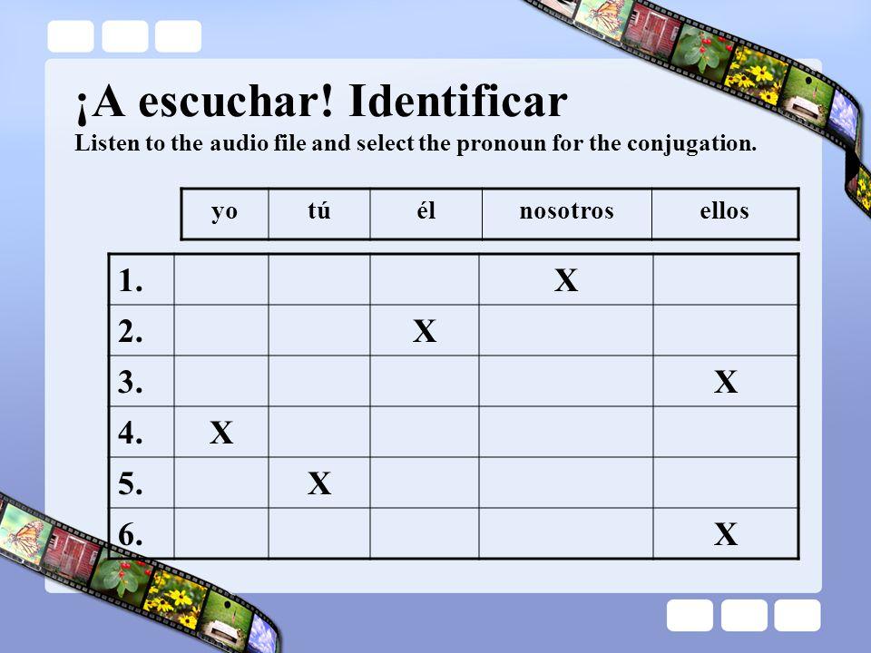 1.X 2.X 3.X 4.X 5.X 6.X ¡A escuchar! Identificar Listen to the audio file and select the pronoun for the conjugation. yotúélnosotrosellos