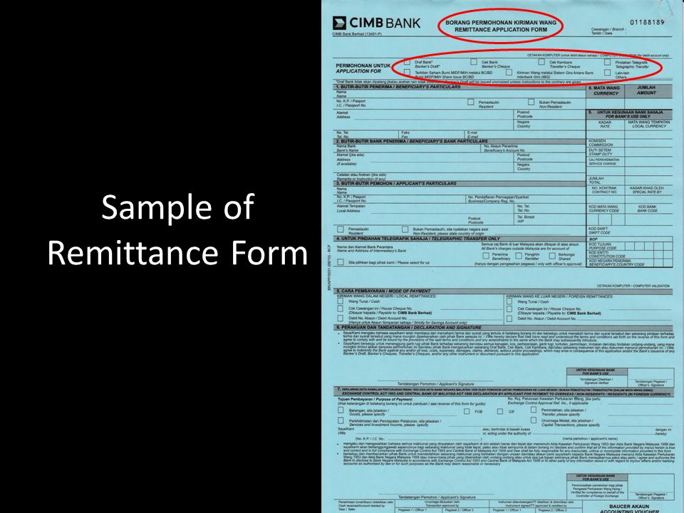Sample of Remittance Form