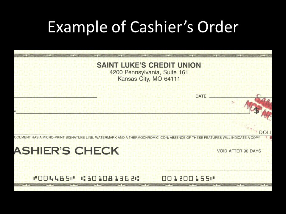 Example of Cashier's Order