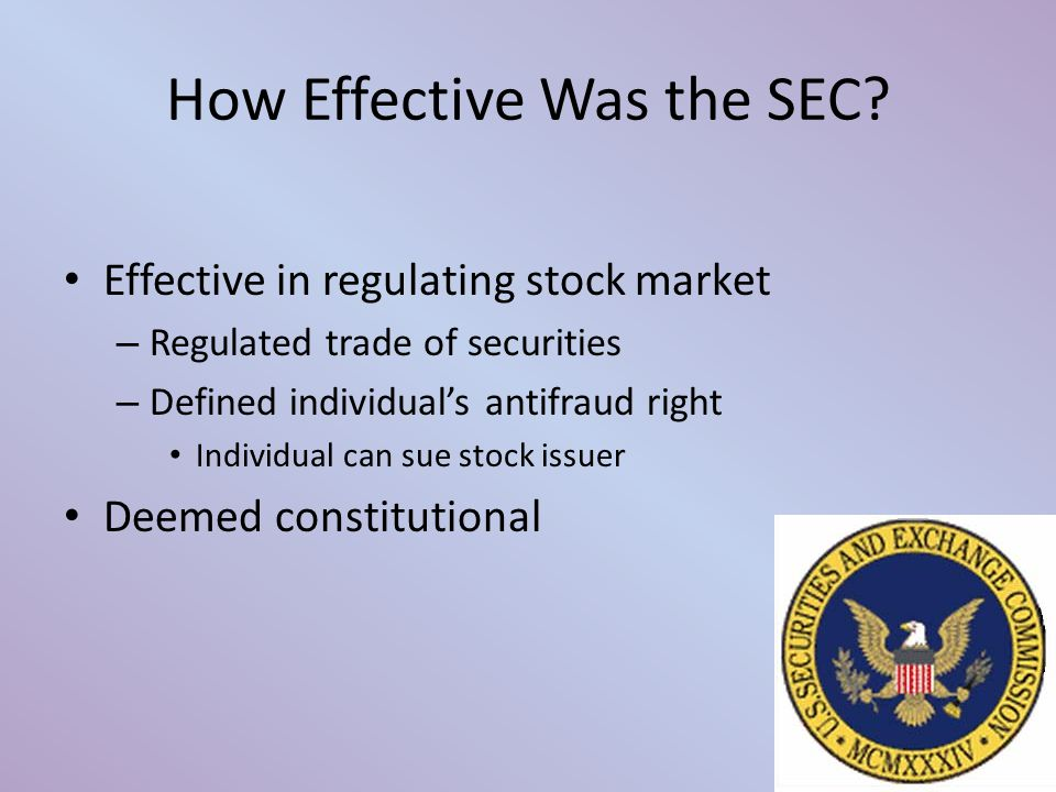 How Effective Was the SEC.