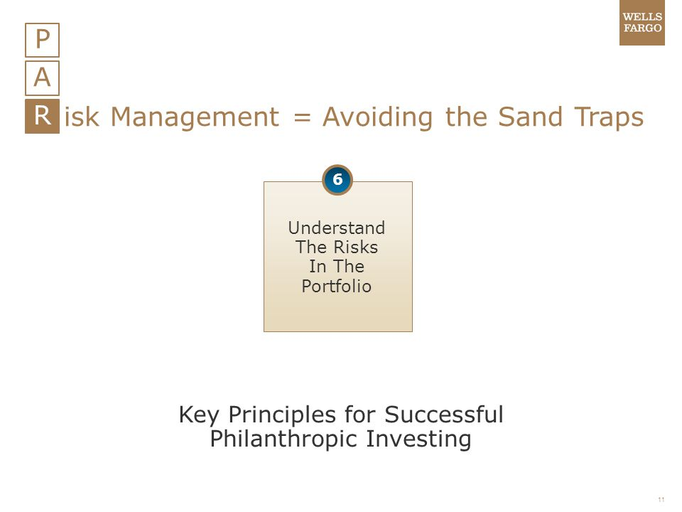 11 P A R isk Management = Avoiding the Sand Traps Understand The Risks In The Portfolio 6 Key Principles for Successful Philanthropic Investing