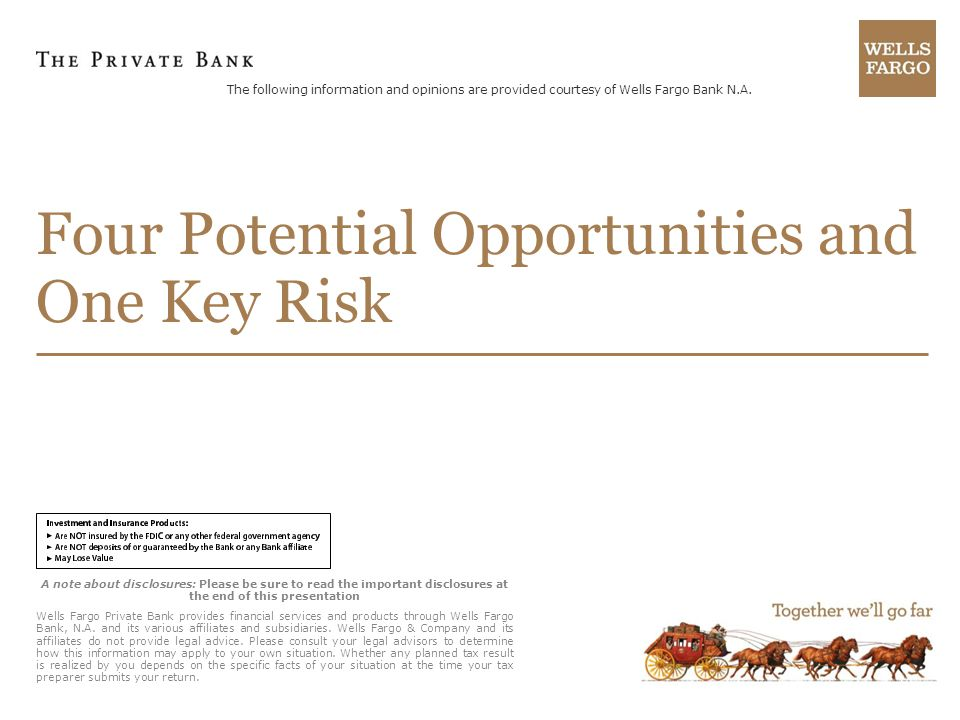 A note about disclosures: Please be sure to read the important disclosures at the end of this presentation Wells Fargo Private Bank provides financial