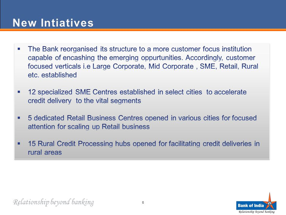 Relationship beyond banking New IntiativesNew Intiatives 6
