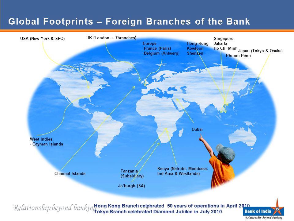 Relationship beyond banking Global Footprints – Foreign Branches of the BankGlobal Footprints – Foreign Branches of the Bank Japan (Tokyo & Osaka) Phnom Penh Singapore Jakarta Ho Chi Minh Hong Kong Kowloon Shenzen Jo'burgh (SA) Kenya (Nairobi, Mombasa, Ind Area & Westlands) Europe -France (Paris) -Belgium (Antwerp) UK (London + 7branches) Channel Islands USA (New York & SFO) West Indies - Cayman Islands Tanzania (Subsidiary) Dubai 9