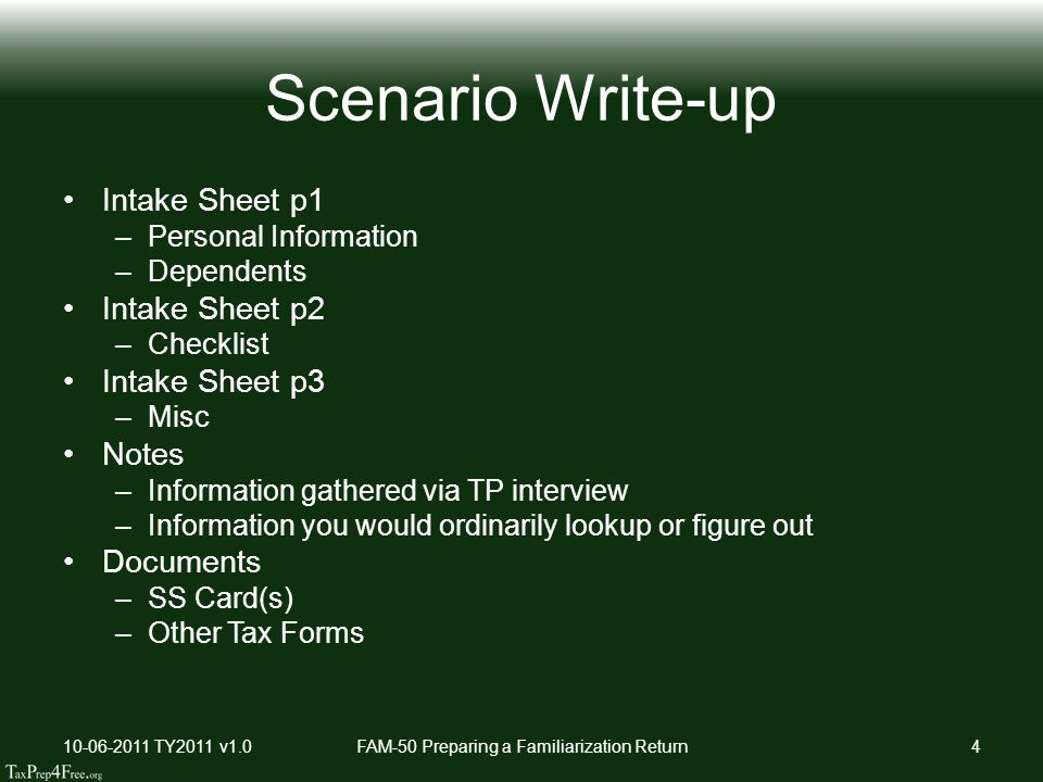 Scenario Write-up Intake Sheet p1 –Personal Information –Dependents Intake Sheet p2 –Checklist Intake Sheet p3 –Misc Notes –Information gathered via TP interview –Information you would ordinarily lookup or figure out Documents –SS Card(s) –Other Tax Forms 10-06-2011 TY2011 v1.0FAM-50 Preparing a Familiarization Return4