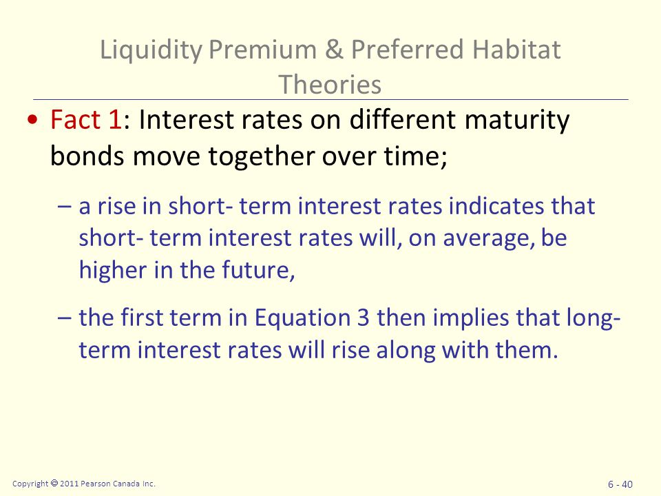 Copyright  2011 Pearson Canada Inc. 6 - 40 Fact 1: Interest rates on different maturity bonds move together over time; –a rise in short- term interes