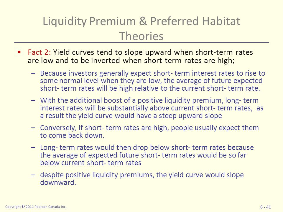 Fact 2: Yield curves tend to slope upward when short-term rates are low and to be inverted when short-term rates are high; –Because investors generally expect short- term interest rates to rise to some normal level when they are low, the average of future expected short- term rates will be high relative to the current short- term rate.