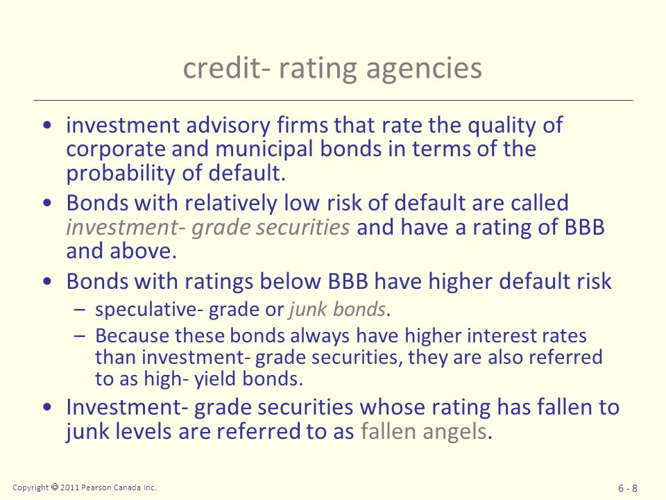 credit- rating agencies investment advisory firms that rate the quality of corporate and municipal bonds in terms of the probability of default.