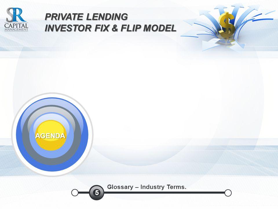 PRIVATE LENDING INVESTOR FIX & FLIPMODEL INVESTOR FIX & FLIP MODEL AGENDA Glossary – Industry Terms.