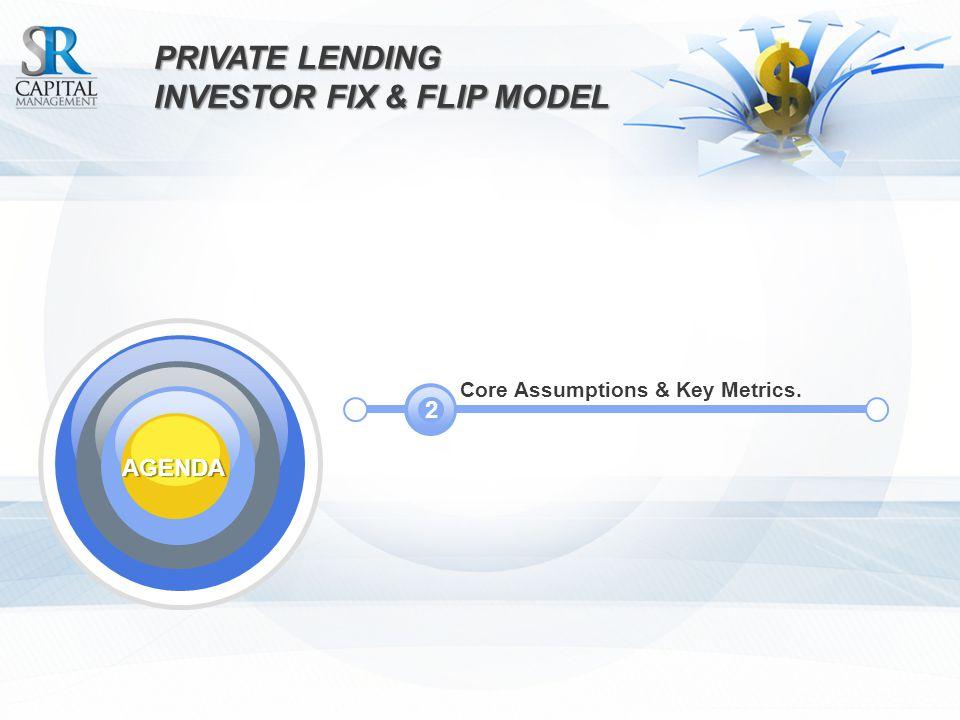 PRIVATE LENDING INVESTOR FIX & FLIPMODEL INVESTOR FIX & FLIP MODEL Core Assumptions & Key Metrics.