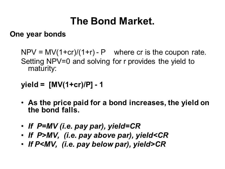 The Bond Market.Zero Coupon Bonds.