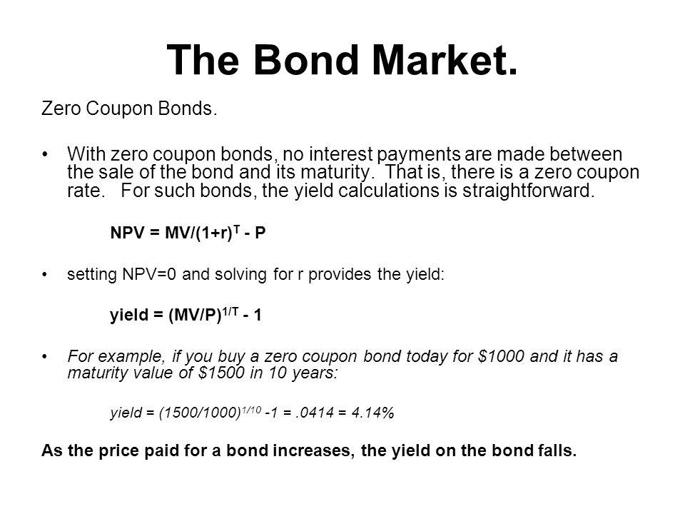 The Bond Market. Zero Coupon Bonds.