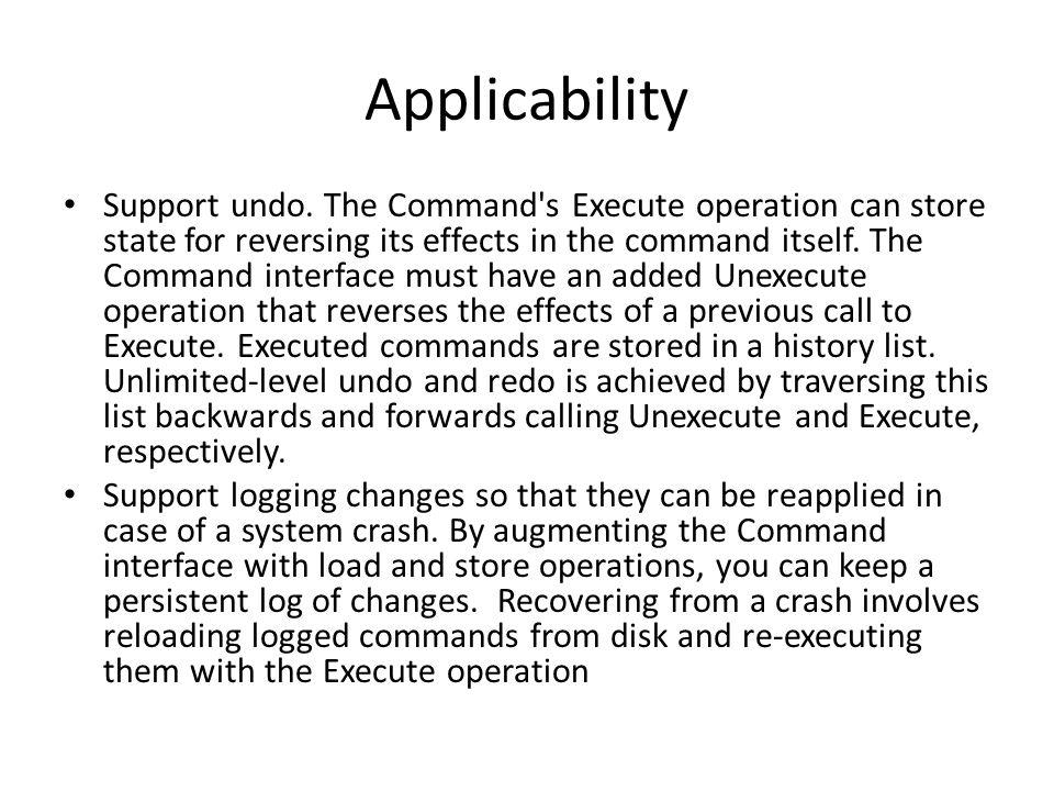 Applicability Support undo.